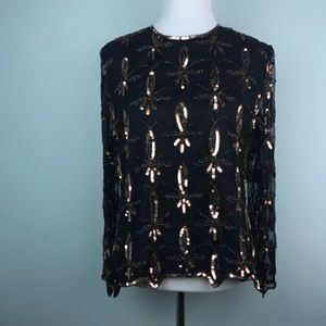 Vintage Stenay silk sequin trophy top black